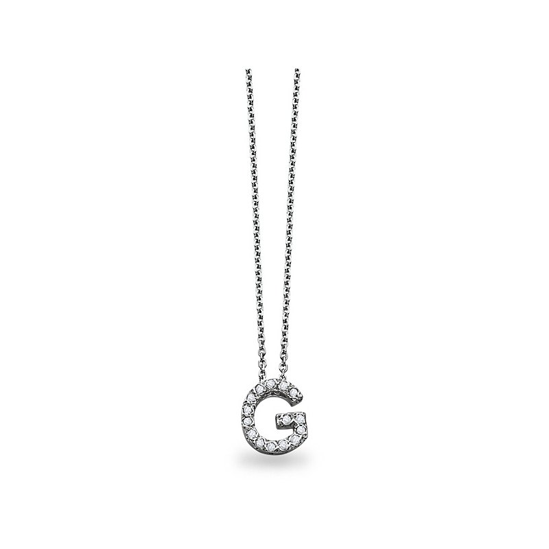"KC Designs Diamond Block Initial ""G"" Necklace in 14k White Gold with 15 Diamonds weighing .12ct tw."