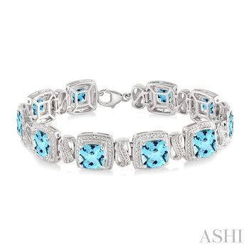 silver gemstone & diamond bracelet