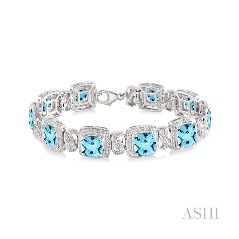 ASHI silver gemstone & diamond bracelet