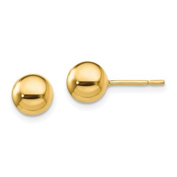 Sterling Silver Gold-Tone Polished 7mm Ball Post Earrings