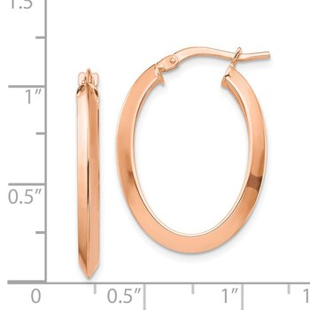 14k Rose Gold Polished 2.5mm Knife Edge Oval Hoop Earrings