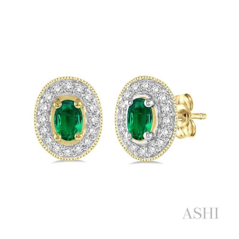 ASHI oval shape gemstone & diamond earrings