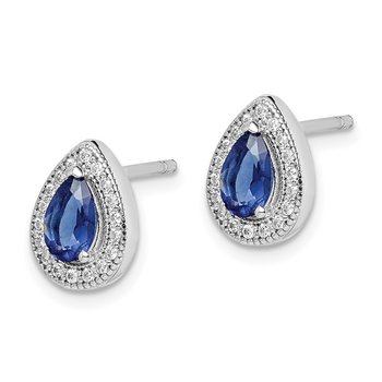 Sterling Silver Rhodium-plated Blue and Clear CZ Post Earrings