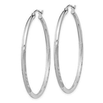 Sterling Silver Rhodium-plated 2mm Polished/Satin Diamond-cut Hoop Earrings
