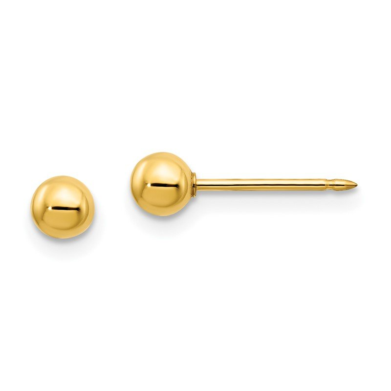Quality Gold Inverness 14k 4mm Ball/Long Post Earrings