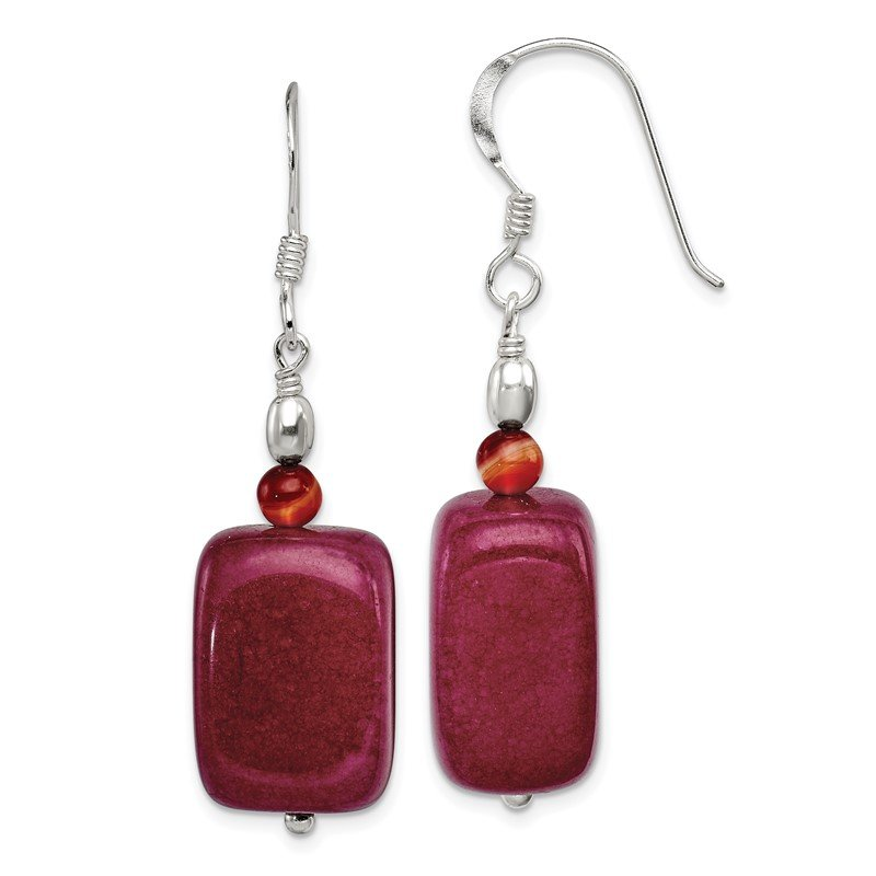 Quality Gold Sterling Silver Carnelian and Red Jade Earrings