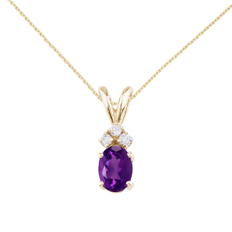 Color Merchants 14K Yellow Gold Oval Amethyst and Diamond