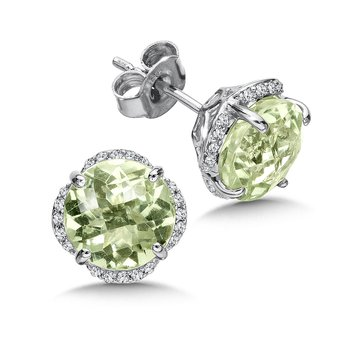 Green Amethyst and Diamond Post Earrings in 14K White Gold