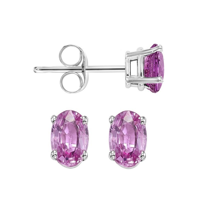 Gems One Oval Prong Set Pink Sapphire Studs in 14K White Gold