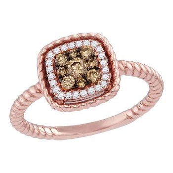 14kt Rose Gold Womens Round Brown Diamond Square Cluster Rope Bridal Wedding Engagement Ring 1/3 Cttw