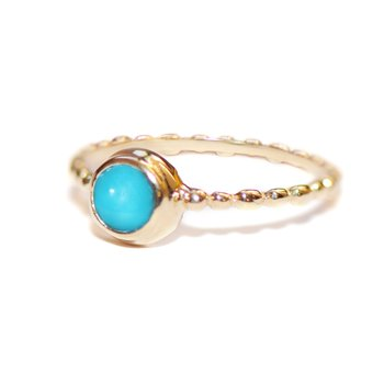 Turquoise Dew Drop Round Stackable Ring