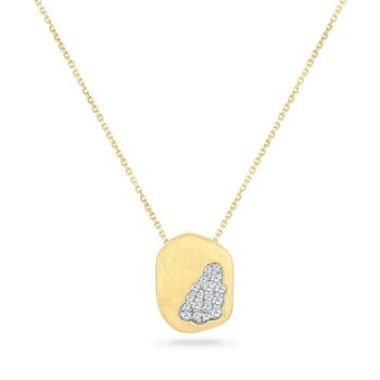 14K FREE FORM NECKLACE WITH 11 DIAMONDS 0.12CT 18 INCHES