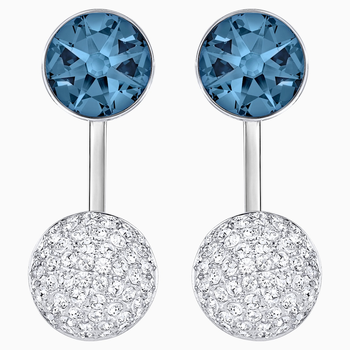 Forward Pierced Earring Jackets, Blue, Palladium plated
