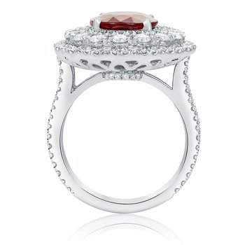 Oval Natural Ruby & Diamond Ring