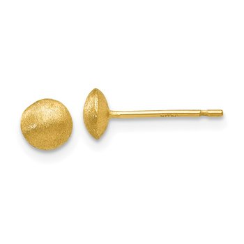 14K 5mm Satin Puffed Button Post Earrings