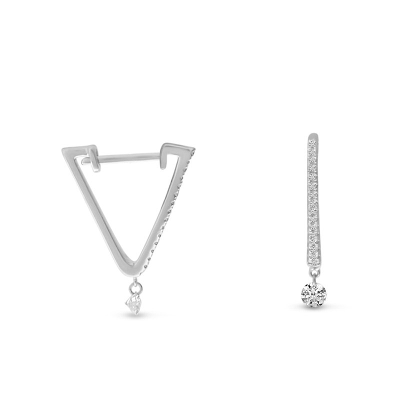 14K White Gold Triangle Huggie Diamond Earrings
