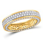 Kingdom Treasures 14kt Yellow Gold Mens Round Diamond Double Row Eternity Wedding Band Ring 3.00 Cttw