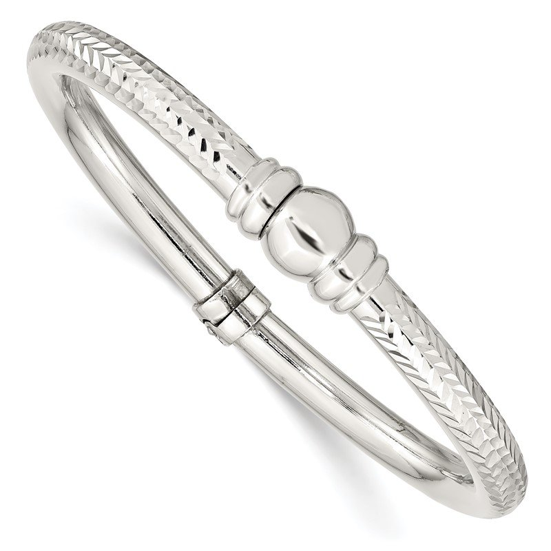 J.F. Kruse Signature Collection Sterling Silver Rhodium-plated Textured Hinged Bangle
