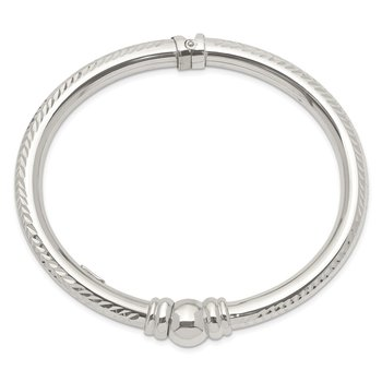 Sterling Silver Rhodium-plated Textured Hinged Bangle