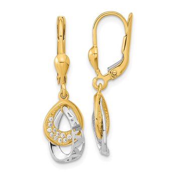 14k Two-tone D/C Teardrop CZ Dangle Leverback Earrings