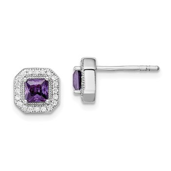 Sterling Silver Rhodium Plated Purple and Clear CZ Post Earrings
