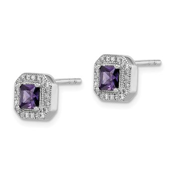 Sterling Silver Rhodium Plated Square Purple and Clear CZ Post Earrings