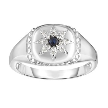 Sterling Silver Gemstone & Diamond Star Signet Ring