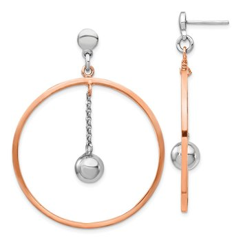 Sterling Silver Rhodium-plated & Rose gold-plated Circle Post Earrings