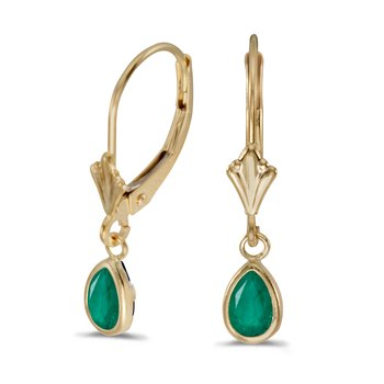 14k Yellow Gold Pear Emerald Bezel Lever-back Earrings