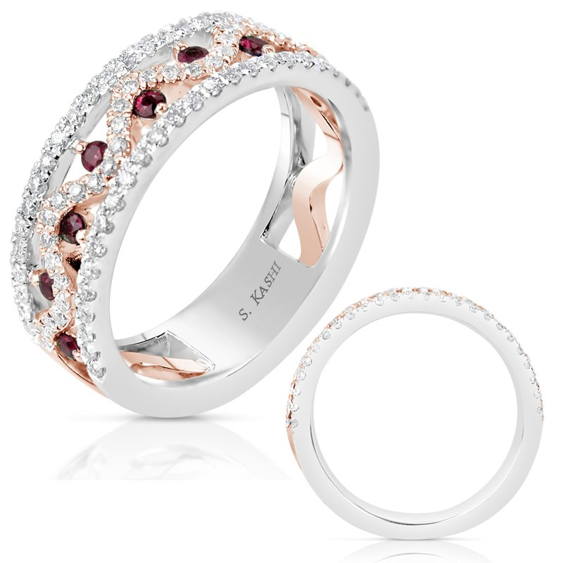 S. Kashi  & Sons Rose & White Gold Ruby Diamond Band