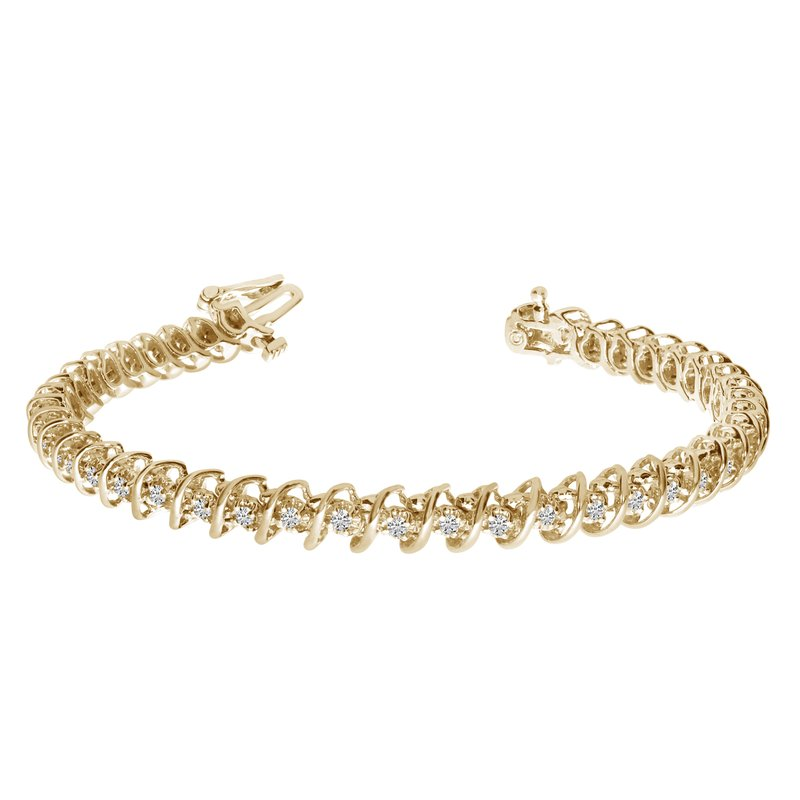 "Color Merchants 14K Yellow Gold Diamond ""S"" Illusion Bracelet"