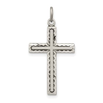 Sterling Silver Antiqued Cross Charm
