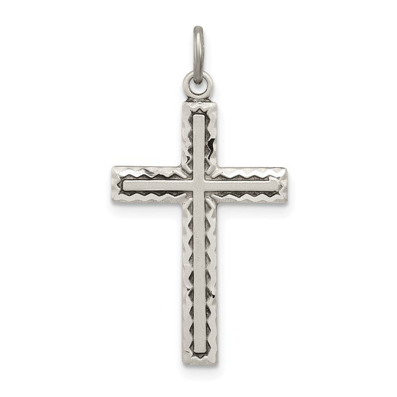 Quality Gold Sterling Silver Antiqued Cross Charm