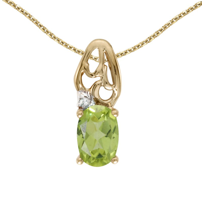 Color Merchants 10k Yellow Gold Oval Peridot And Diamond Pendant