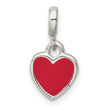 Sterling Silver Pink Enamel Heart Enhancer