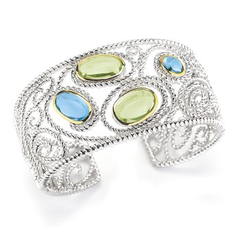 Sterling Silver and 14K Yellow Gold Bangle with Green Amethyst and Blue Topaz Stones