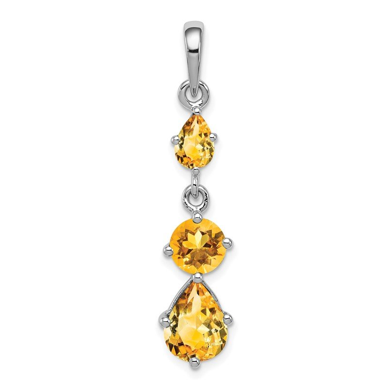 Quality Gold Sterling Silver Rhodium-plated Citrine Pendant
