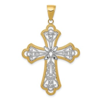 14K w/Rhodium Diamond-cut Filigree Cut-out Cross Pendant