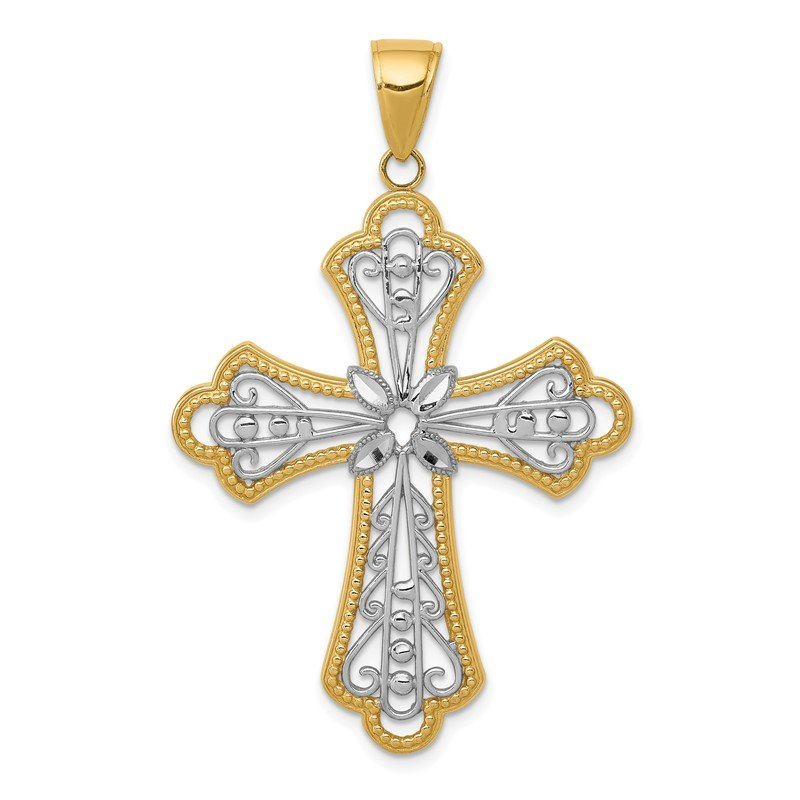 Quality Gold 14K w/Rhodium Diamond-cut Filigree Cut-out Cross Pendant