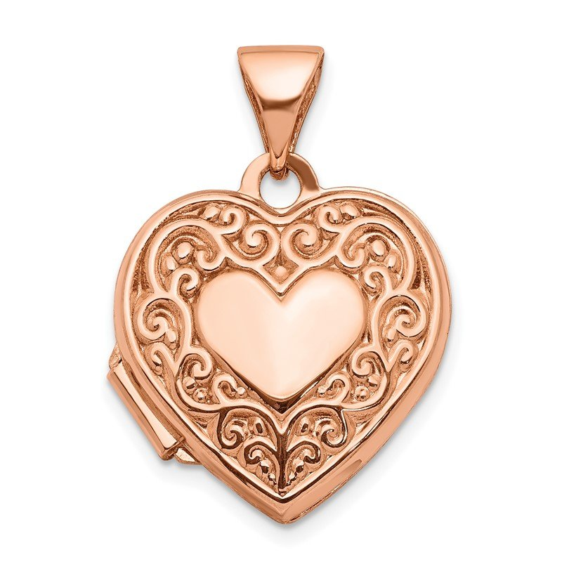 Quality Gold 14k Rose Gold 15mm Scroll Heart Locket
