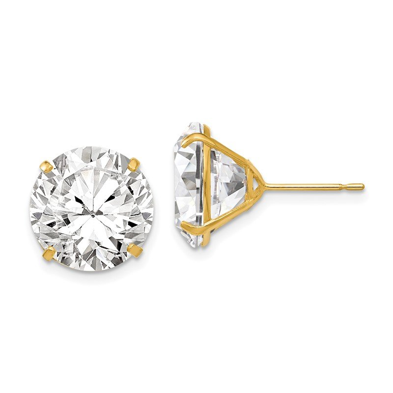 Fine Jewelry by JBD 14k 12mm Round CZ Post Earrings