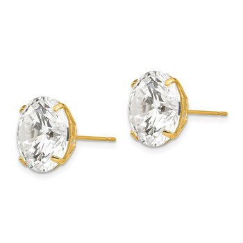 14k 12mm Round CZ Post Earrings