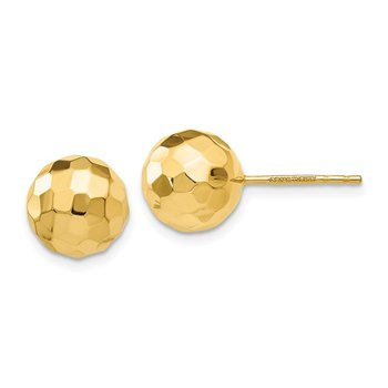 14K Gold Polished and Diamond Cut 9.5MM Ball Post Earrings