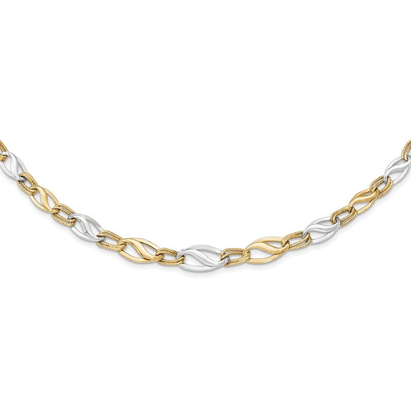 Quality Gold 14K Two-tone Polished & Diamond Cut Necklace
