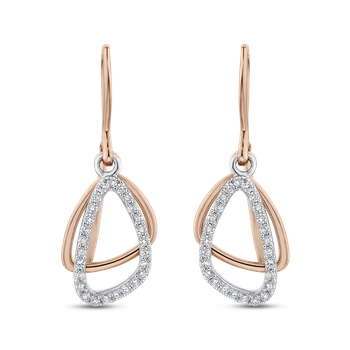 1/5 ct Round Diamond 10K Two Tone Gold Fashion Dangle Earrings