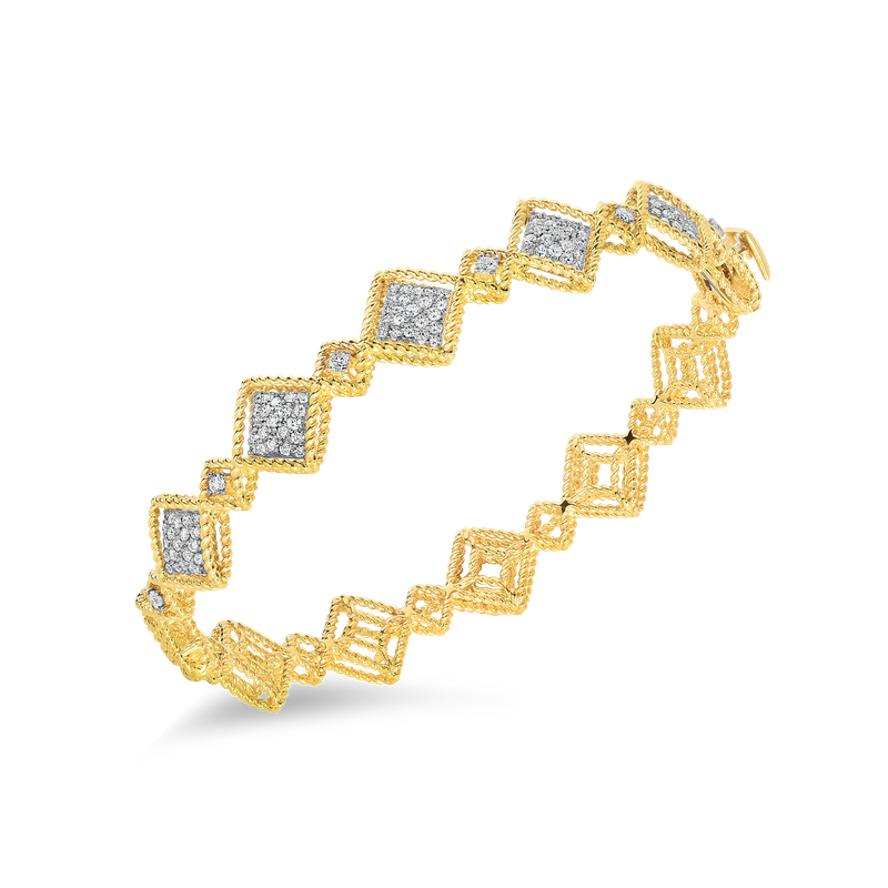 Roberto Coin 18Kt Gold Alternating Pattern Diamond Station Bangle