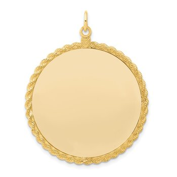 Sterling Silver GP Engraveable Round with Rope Polished Disc
