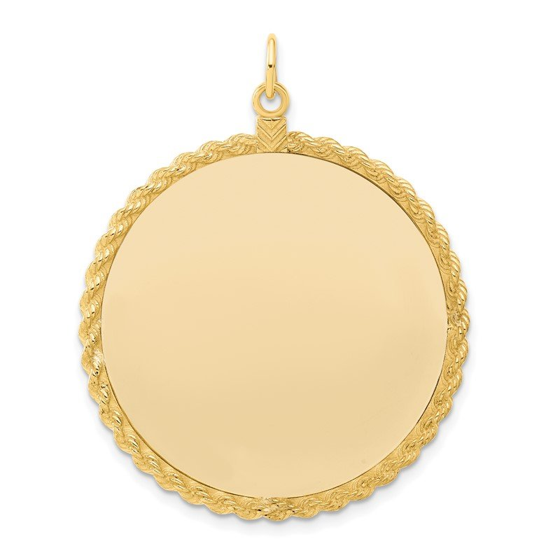 Quality Gold Sterling Silver GP Engraveable Round with Rope Polished Disc