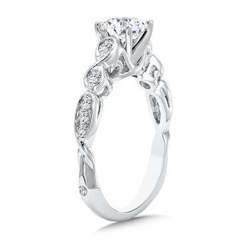 Modernistic Collection Engagement Ring With Side Stones in 14K White Gold with Platinum Head (3/4ct. tw.)