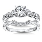 Caro74 Modernistic Collection Engagement Ring With Side Stones in 14K White Gold with Platinum Head (3/4ct. tw.)